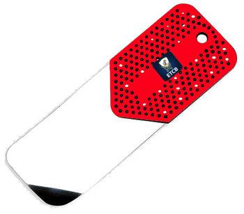 RVS flipperkaart rood lang 0,15mm dik