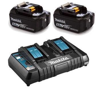 Makita  set 2x 18V Li-Ion accu 5.0Ah + Accu duolader met USB laadpoort