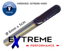 Extreme Frees fijn Ø 6mm x 5cm Blue-Tec coated (Extreme hard)